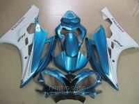Пластмассы инжекционного метода литья Обтекатели для Yamaha R6 06 07 синий белый обтекатель комплект YZF 2006 2007 YT13