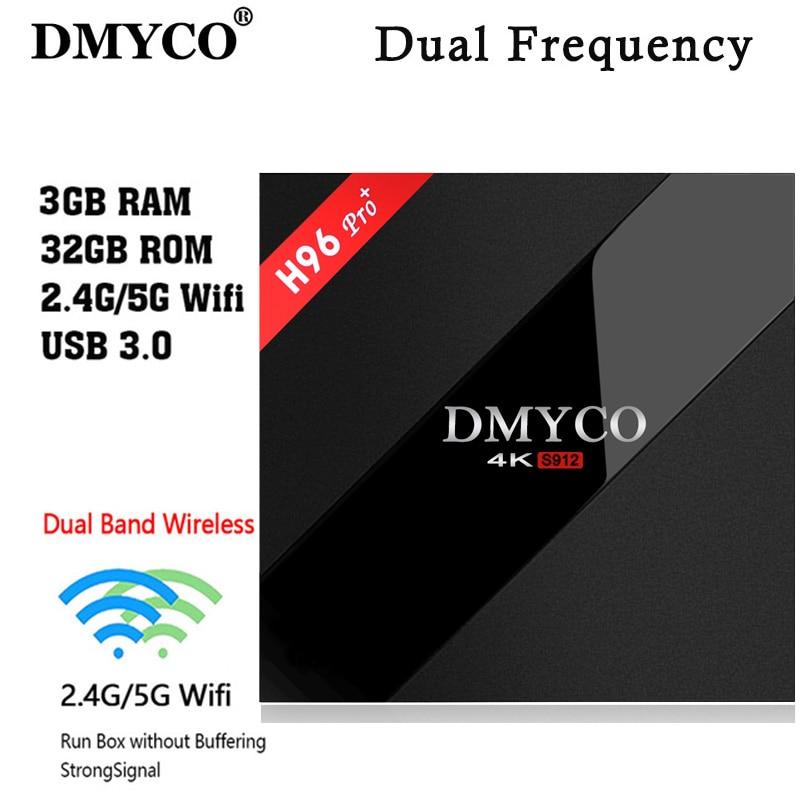 DMYCO Nouveau H96 Pro + 3 GB/32 GB S912 Android 7.1 TV BOX HD télévision intelligente + 1 Année l'europe serveur 1000 + iptv Canaux Italie Français Allemagne