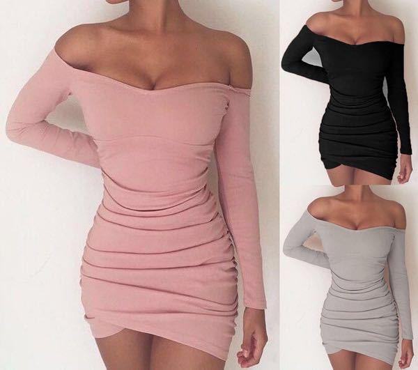 249124187e5d 2018 BKLD Long Sleeve Mini Dress Womens Autumn Winter Dresses Women Sexy  Party Black Pink Grey Off the shoulder Bodycon Dress