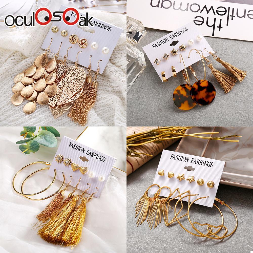 6 Pairs/Lot Imitation Pearl Heart Big Circle Tassel Stud Earrings Set For Women Leaf Flower Elephant Earring Ear Jewelry