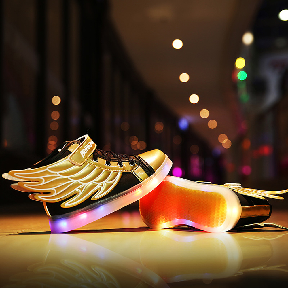 2017 boys lights up kids led luminous shoes Flash Fashion Sneakers with wings high quality leather brand girls sport shoes CS078 joyyou brand usb children boys girls glowing luminous sneakers teenage baby kids shoes with light up led wing school footwear