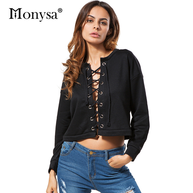 Lace Up Sweatshirts Women Fashion Trends Long Sleeve Cotton Casual Clothing 2017 New