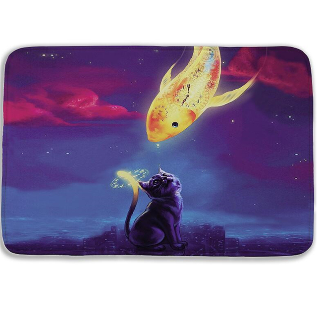 15.7x23.6in Fashion Creative 3D Cat And Fish Bath Mat Variety Of Styles  Bathroom