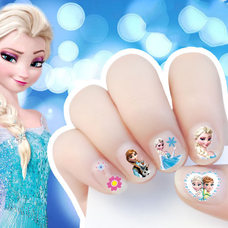 Disney Cartoon Girls Nail Sticker Frozen Elsa Sofia Princess Makeup Pretend Play Beauty Fashion Toy Cosplay Party Girl Gift
