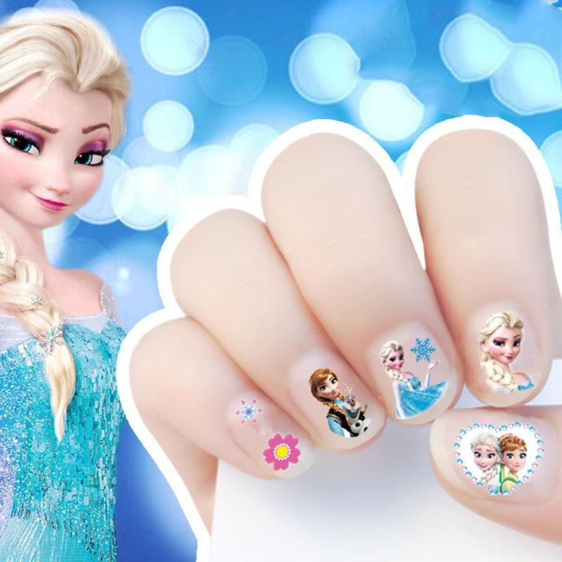 Disney Cartoon Girls Nail Sticker Frozen Elsa Sofia Princess Makeup Pretend Play Beauty Fashion Toy Cosplay Party Girl Gift