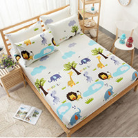 Flamingos Printing Bed Sheet Lovely Bear Fitted Sheet with Elastic for Child Polyester Brushed Mattress Protector
