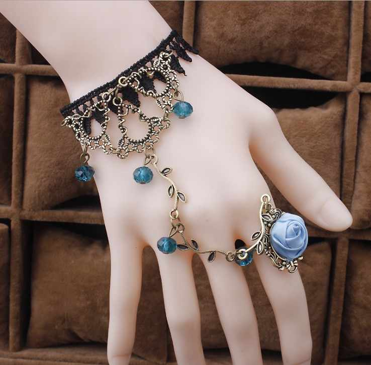 Gothic Bracelet Black Lace Finger Hand Chain Harness Women Bracelet  Metal Crystal Charm Steampunk Lady Vintage Jewelry