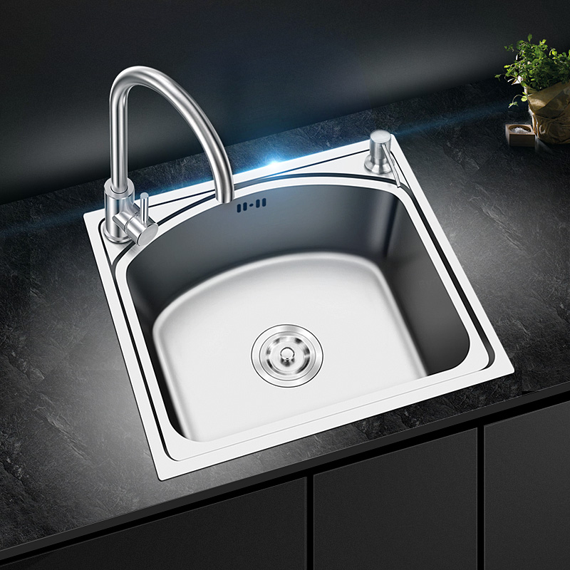 single bowl tank kitchen sink thickened 304 stainless steel dish wash pool single slot set meal square  with faucetsingle bowl tank kitchen sink thickened 304 stainless steel dish wash pool single slot set meal square  with faucet