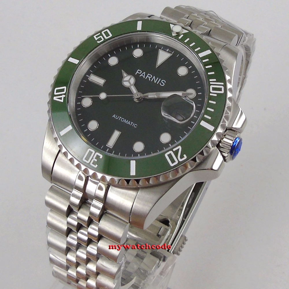 40mm Parnis green dial sapphire glass MIYOTA movement automatic Mens Watch P1057 40mm parnis white dial vintage automatic movement mens watch p25