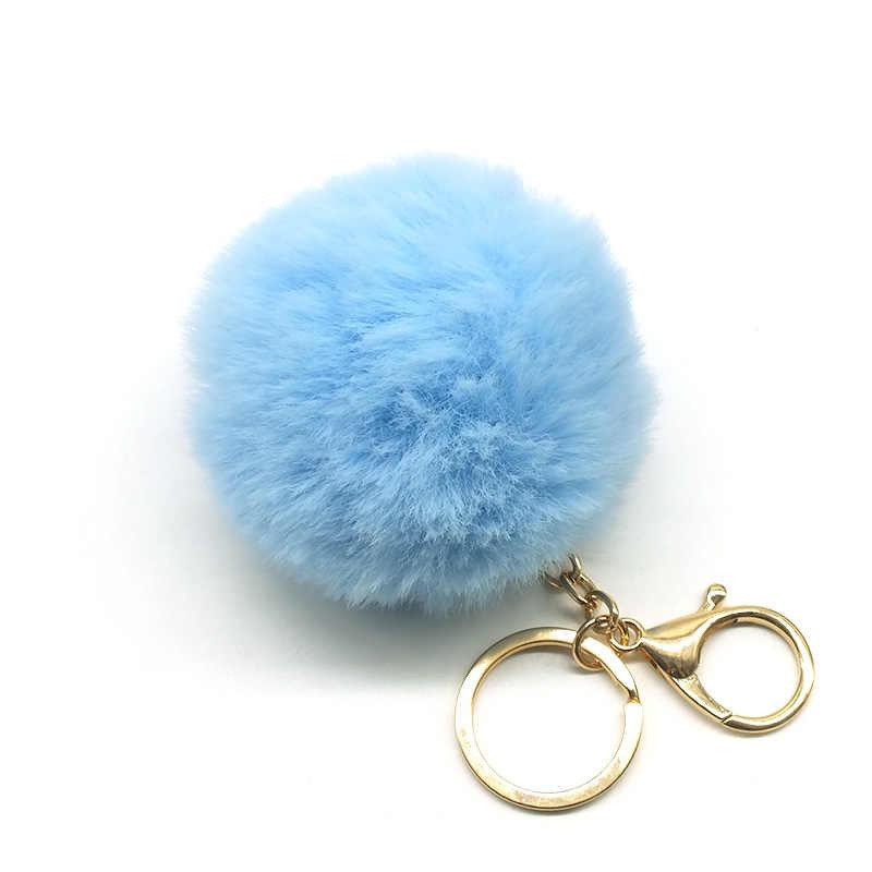 Grande de couro falso 8CM Saco Bulbo Capilar Bola pom pom PomPom Pele de Coelho KeyChain chave Pingente cadeia de porte clef para as mulheres Adorável Fluffy