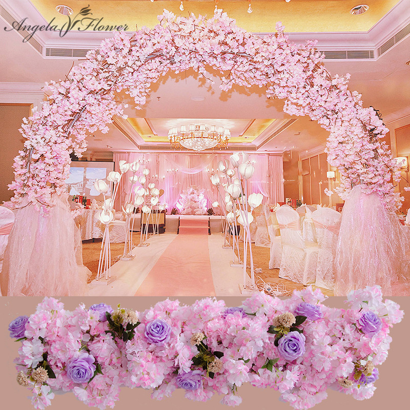 Luxury 1M DIY wedding decor prop artificial flower wall T ... on Hanging Wall Sconces For Flowers id=23347