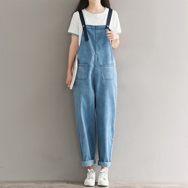 Mori Girl Spring Autumn Women Denim Jumpsuits Female Vintage Suspender Jeans Overalls Casual Loose Solid Washed Overalls 092906