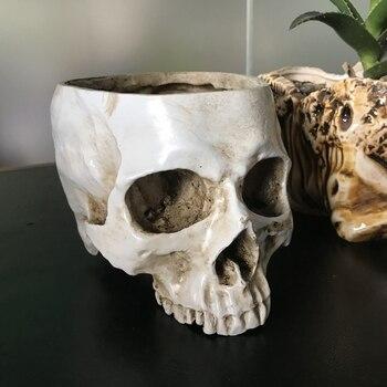 Череп голова плантатор-Белый Скелет человеческой головы дизайн цветочный горшок контейнер античная скульптура плантатор домашний Декор п...