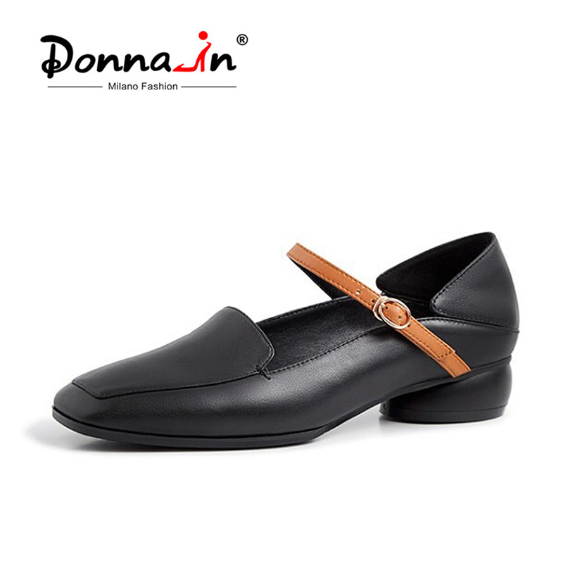 Donna in Low Heel Buckle Strap Women Pumps Genuine Leather Square Toe Elegant Comfortable Spring Autumn