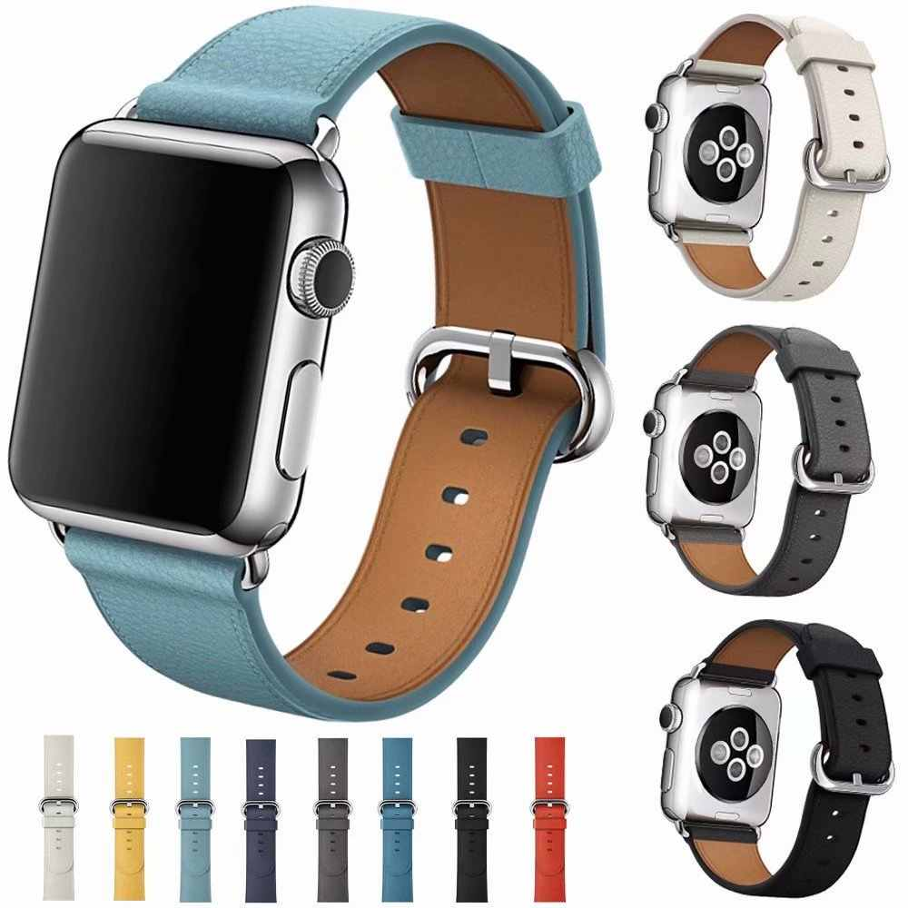 Luxury Design Classic Metal Buckle Band for Apple Watch Series 3 2 1 Strap for Iwatch 38mm 42mm Bracelet Smart Accessories Wrist