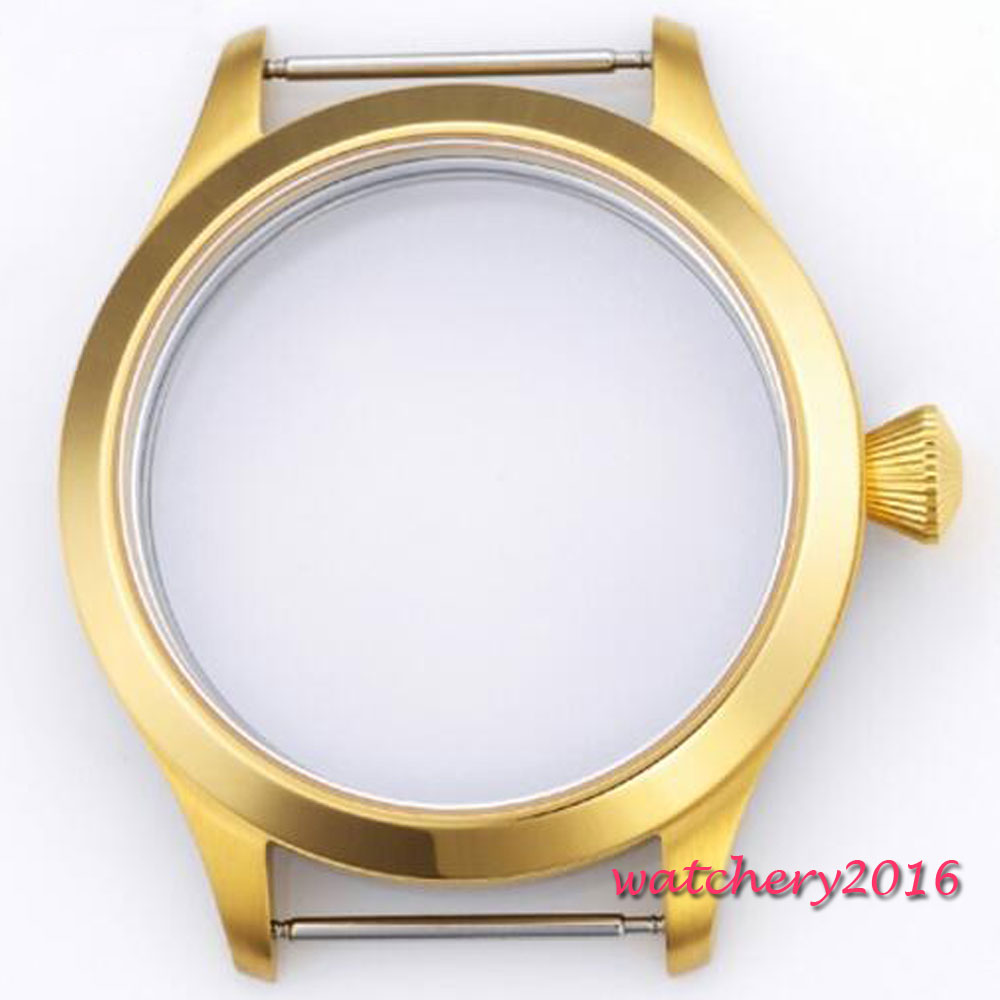 45mm parnis Golden plated parnis Sapphire glass Big crown hardened High quality fit ETA 6498 6497 movement Watch CASE 46mm parnis stainless steel hardened mineral glass yellow golden plated watch case fit eta 6497 6498 movement