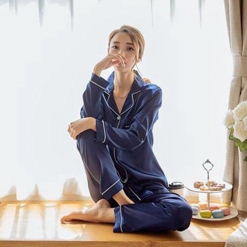 Damen Silk Satin Pyjamas Pyjamas Set Langarm Nachtwäsche Pijama Pyjamas Anzug Weibliche Zwei Stück Set Loungewear Plus Größe M-5XL
