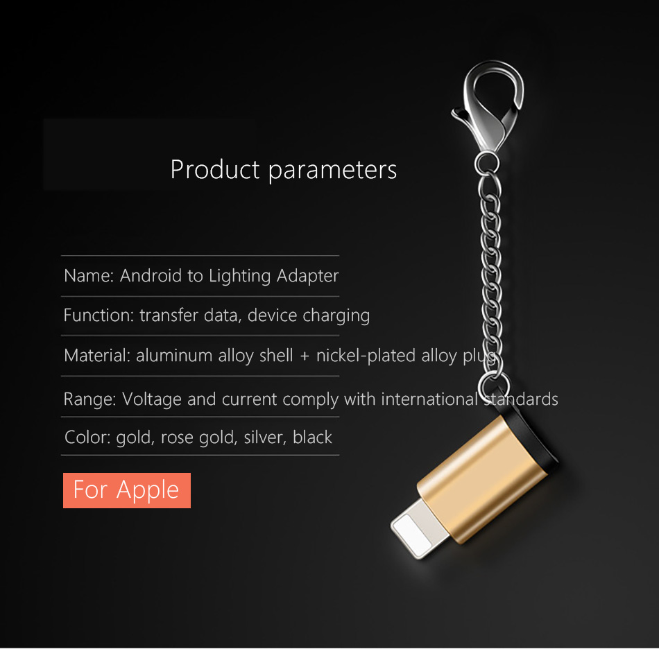 !ACCEZZ Mini Micro USB To Lighting 8 Pin For Apple Adapter With Key Chain For iphone X XS XR 6 7 Plus Sync Charger OTG Converter (6)