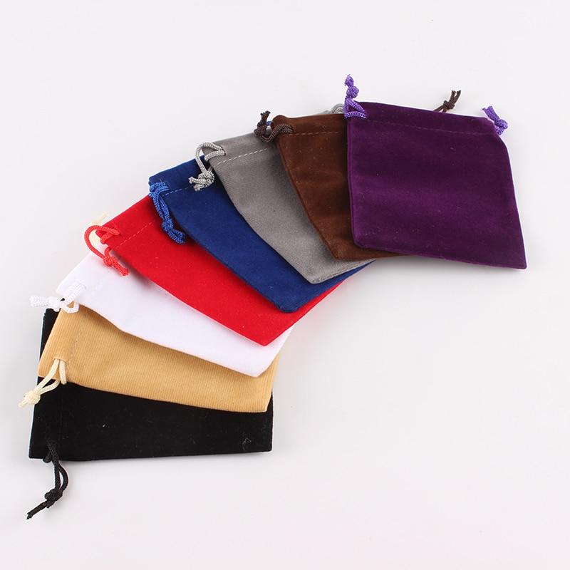 100pcs/lot 8*10 Cm Custom Logo Printed Drawstring Bag Velvet Jewelry Pouch Christmas Gift Bag Candies Food Package