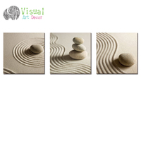 White Sand Zen Stone Canvas Wall Art Sand Beach Scenery Picture Art For Wall Modern Home