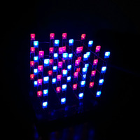 New 3D LED Light Squared 4 4 4 Blue Red Ray LED Cube DIY PCB Board