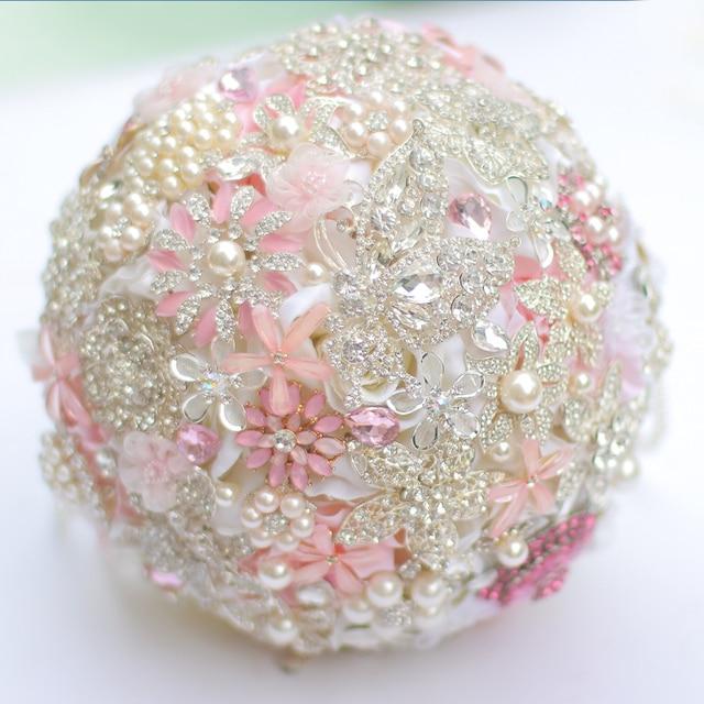 8-дюймовый розовый свадебный букет DIY брошь букет розовый свадебные цветы на заказ Горный Хрусталь Кристалл букет акции 50%