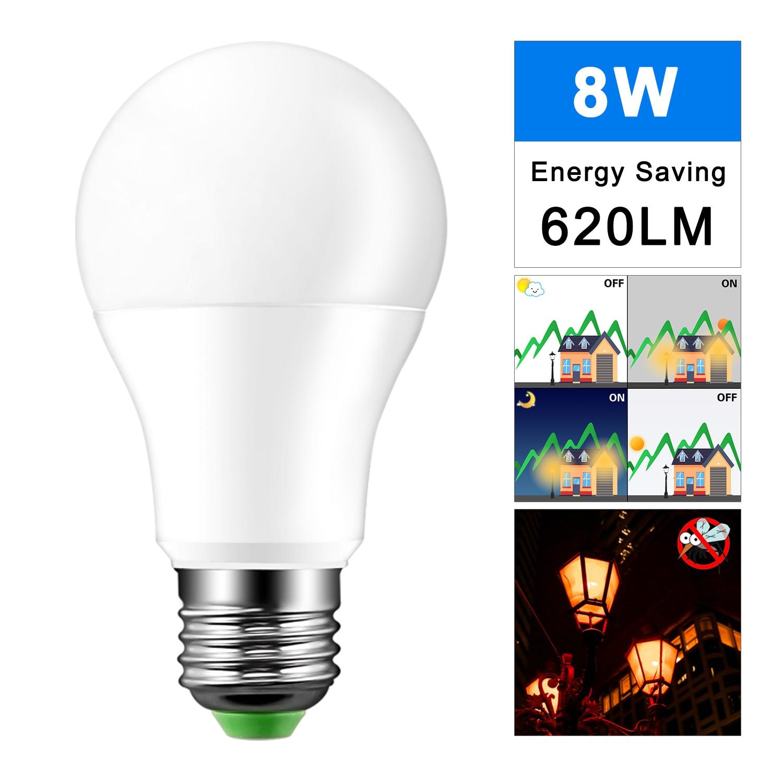 Us 2 78 35 Off Ip44 Led Sensor Bulb E27 8w Ac220v 110v Dusk To Dawn Light Bulb Day Night Light Led Sensor Lamp For Home Lighting Halloween In Led