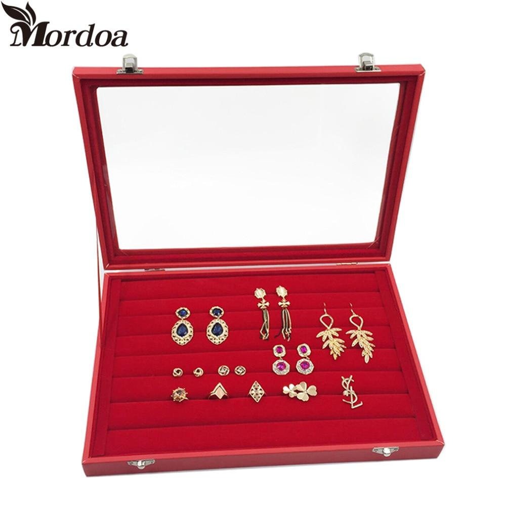 2016 Fashion Red Jewelry Display Casket Jewelry Organizer Earrings Ring Box Case for Jewlery Gift Box Jewelry Box Free Shipping