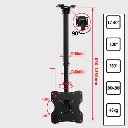 Height Adjustable Tv Wall Mounts Throughout Loctek 3265 Inch Ceiling Tv  Wall Mount Bracket Height Adjustable For Flat Screen Shop