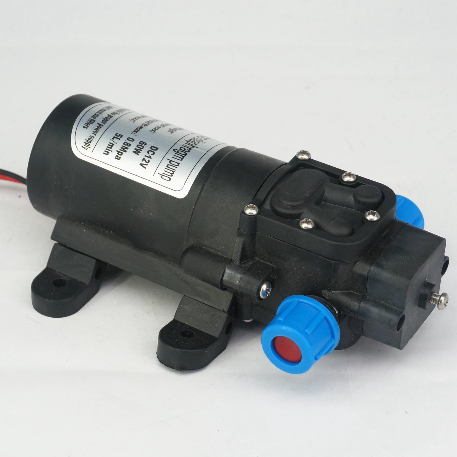 12V DC Electric Mini Diaphragm Pump Self-priming Booster Pumnp Low Traffic For  Car Washer 60W 240L/H 0-60 Degree Celsius