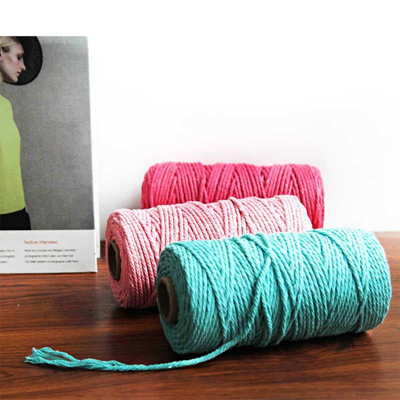 3mm 100% Baumwolle Seil Hause Woven Macrame Schnur Tapisserie Kunst und Handwerk Seil Dekorative Schnur Baumwolle Gewinde Chinesischen Knoten schnur