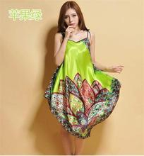 High Quality Green Free Shipping Hot SaleUnique Silk Painted Scarf Gown/Sleepwear/Long Skirt one size