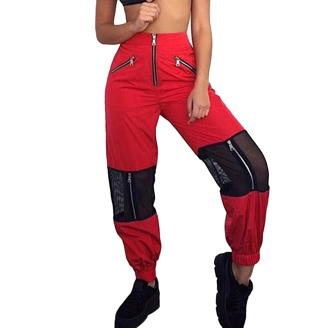 Moda Zipper Pant Kobiety Zima Wysokiej Talii Skinny Ciepłe Siatki luźne Spodnie Hip Hop Czarny Elastyczny Pas Spodni 2018 Czarny czerwony
