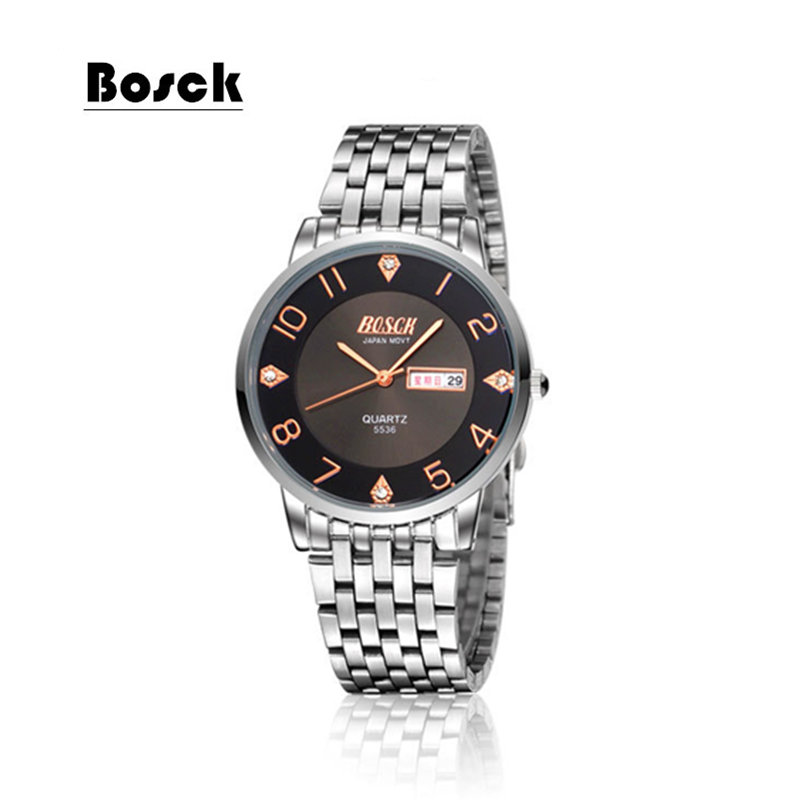 Top Brand Luxury Lovers' Couple Watches Men Date Day Waterproof Watch Women Gold Stainless Steel Quartz Wristwatch Montre Homme
