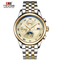 TEVISE Top Brand Men S Gold Watch Moon Phase Mechanical Watch Man Military Stainless Steel Clock