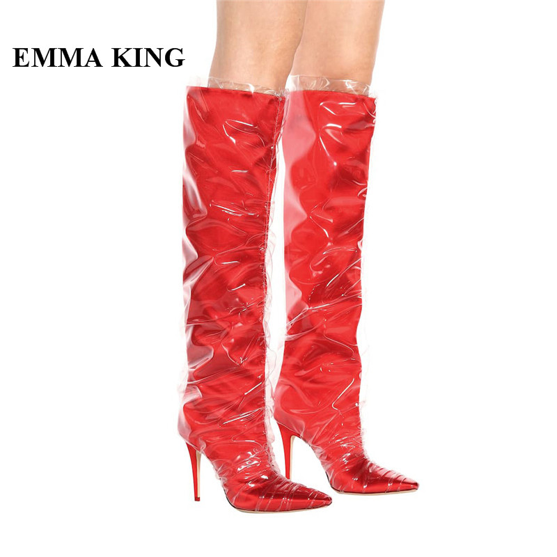 EMMA KING 2018 New Design Runway Boots Knee High Stiletto Thin High Heel Pointed Toe Boot Mesh Pointed Toe Catwalk Shoes WomenEMMA KING 2018 New Design Runway Boots Knee High Stiletto Thin High Heel Pointed Toe Boot Mesh Pointed Toe Catwalk Shoes Women