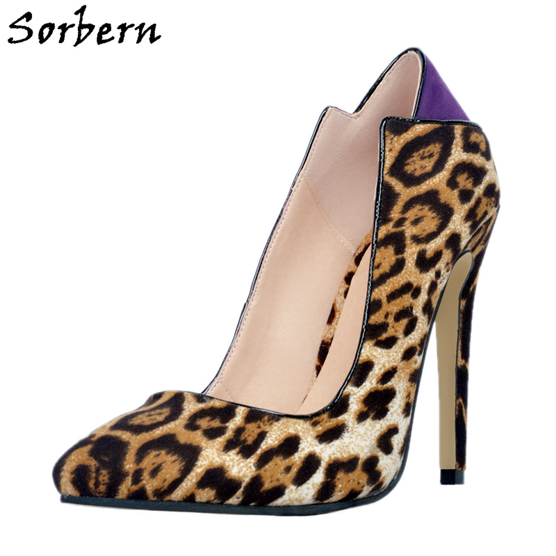 Sorbern Leopard Wild Women Pump Shoes High Heel Stilettos Pointy Toe Slip On Ol Shoes 12Cm Heeled Cute Pump Small Big Size 34-47 new arrival women sky blue high heel slip on sexy stilettos white cloud decoration cute bride shoes wedding women stilettos pump