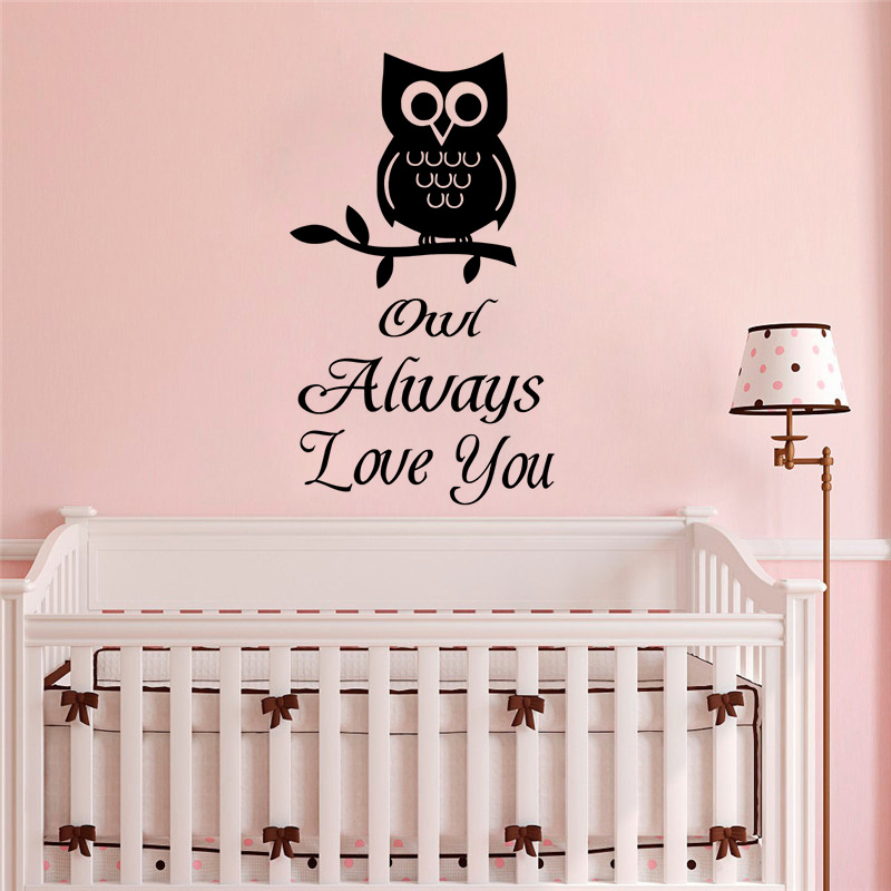 Removable Wall Art Decals Owl Always Love You Quote Wall Sticker Baby Room Decoration Good Sleep Design Wall Murals AY1769 in Wall Stickers from Home Garden