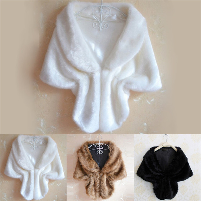 2c9d9e2d947d Women Black White Brown Plush Faux Fur Shawl Wrap Bridal WeddingJacket Gilet  Stole Waistcoat Bolero Shrug