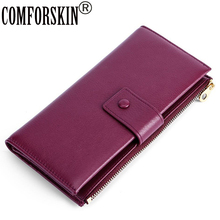 COMFORSKIN New Arrivals Cowhide Leather Women Wallets Long Multi-Card Bit  Female Zipper Purses Hot Fashion Woman Card