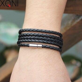 XQNI brand black retro Wrap Long leather bracelet men bangles fashion sproty Chain link male charm bracelet with 5 laps 2