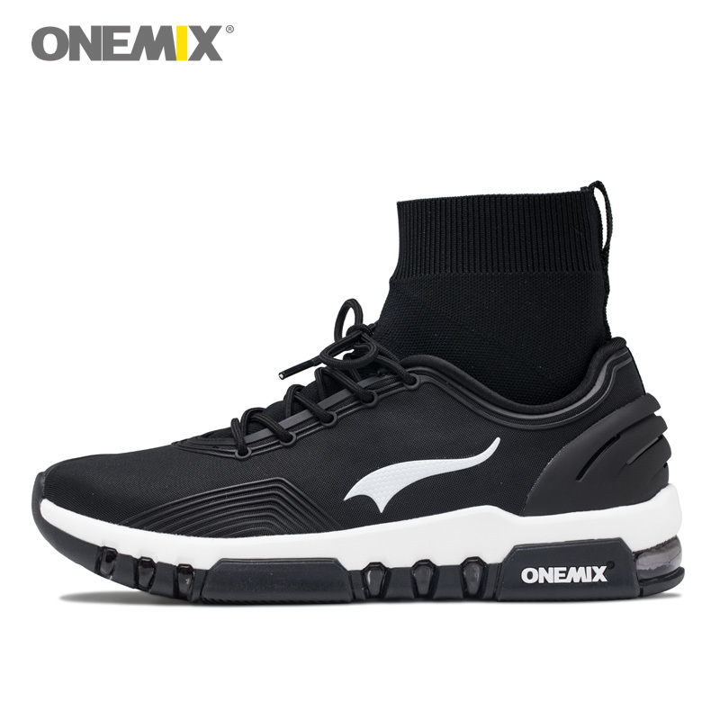 ONEMIX NEW 2018 Men Running Shoes Women High Top Athletic Sneakers Outdoor Sports Fitness BLack Tennis Trainers Walking Boots peak sport men outdoor bas basketball shoes medium cut breathable comfortable revolve tech sneakers athletic training boots