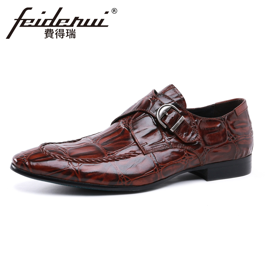 Fashion Alligator Pattern Genuine Leather Men's Monk Straps Footwear Pointed Toe Handmade Male Formal Dress Shoes For Man YMX116 luxury snake pattern patent leather men s monk strap formal dress footwear round toe handmade male casual shoes for man ymx411