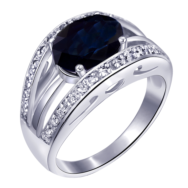 Natural Sapphire Dark Night Blue Ring 925 Sterling silver Woman Fashion Fine Elegant Jewelry Princess Birthstone Gift SR0203S natural pink ruby ring flower in 925 sterling silver fancy sapphire jewelry fashion elegant luxury birthstone gift sr0159r