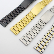 Silver /Gold / Goldsmith/Black Straight End Black Stainless Steel Bracelet Watch Band Solid Links Fit Any Watch Replace Tool men women stainless steel bracelet watch band strap straight end solid links june17