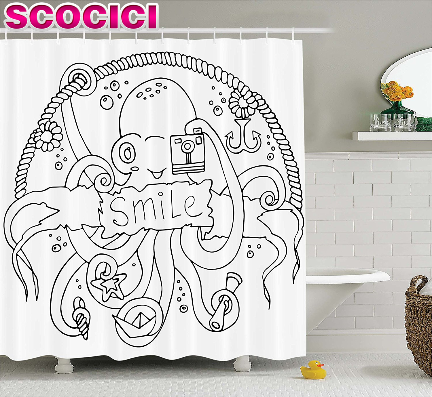 Kraken shower curtain - Kraken Decor Shower Curtain Sketchy Inspirational Octopus Taking A Photo With Camera Underwater Sea Artwork Fabric Bathroom Deco