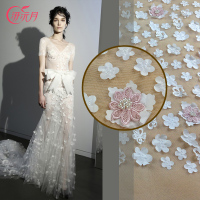 Xian Month Ultra Stereo Embroidery Flower Dress Lace Cloth Dress Fashion Personal Princess Dress Fabric
