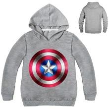 Spring Boys Hoodies and Sweatshirts American Captain Kids Clothes Avengers T Shirt Long Sleeves Hooded Coat Cartoon Printing