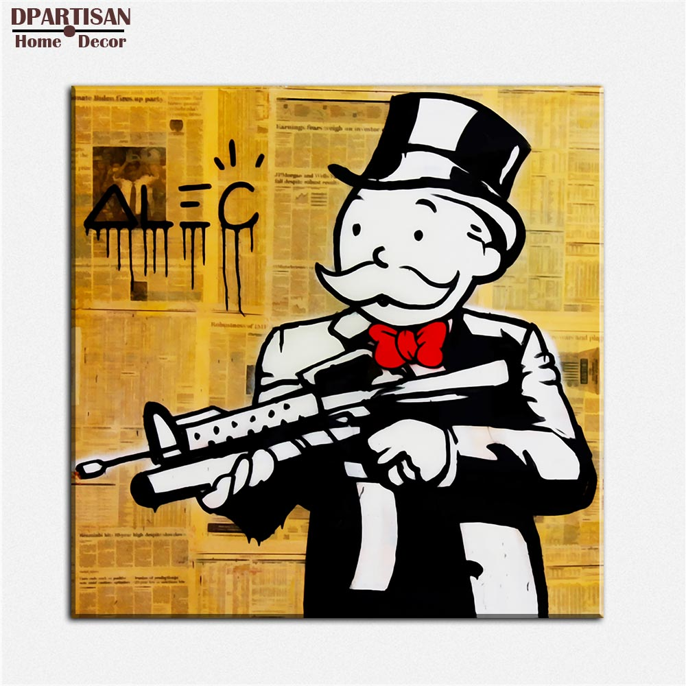 Newspaper gun alec monopoly wall street arts canvas print for Newspaper canvas art