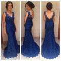 Sex Backless V-neck New Coming Bridesmaid Dress 2016 Royal Blue Custom Made Fahionable Lace Custom-made Sweep Train Zipper Back